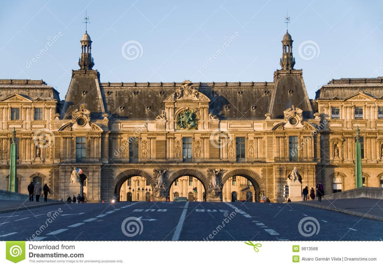 Front View Of The Louvre Museum
