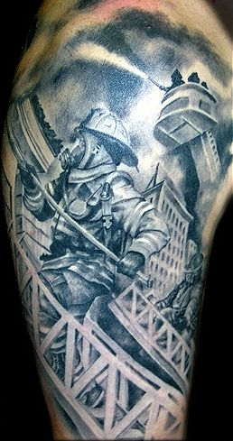 79db40e8e Grey Ink Firefighter On Ladder Tattoo Design For Half Sleeve