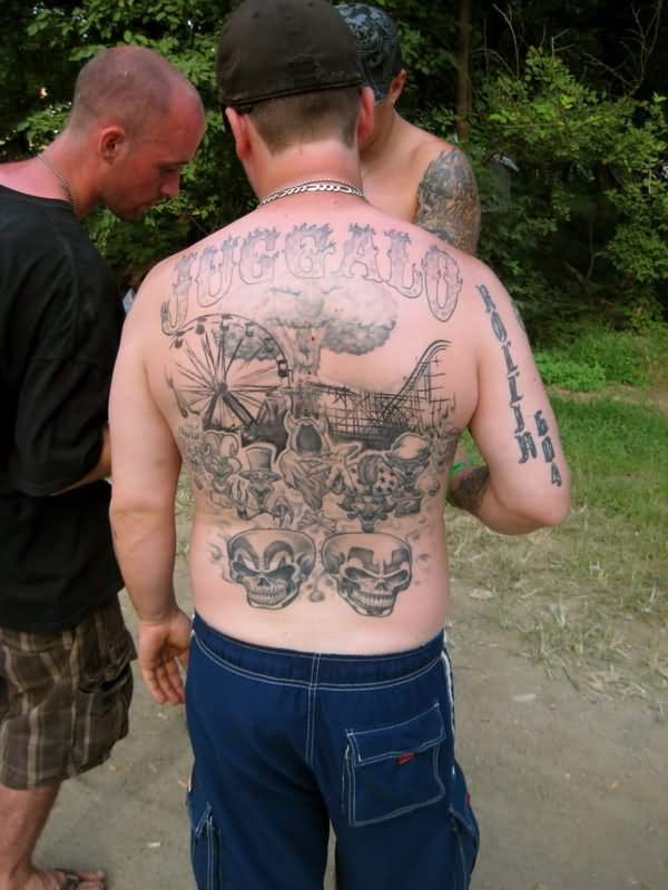 494cb746d Grey Ink Juggalo Tattoos On Man Full Back