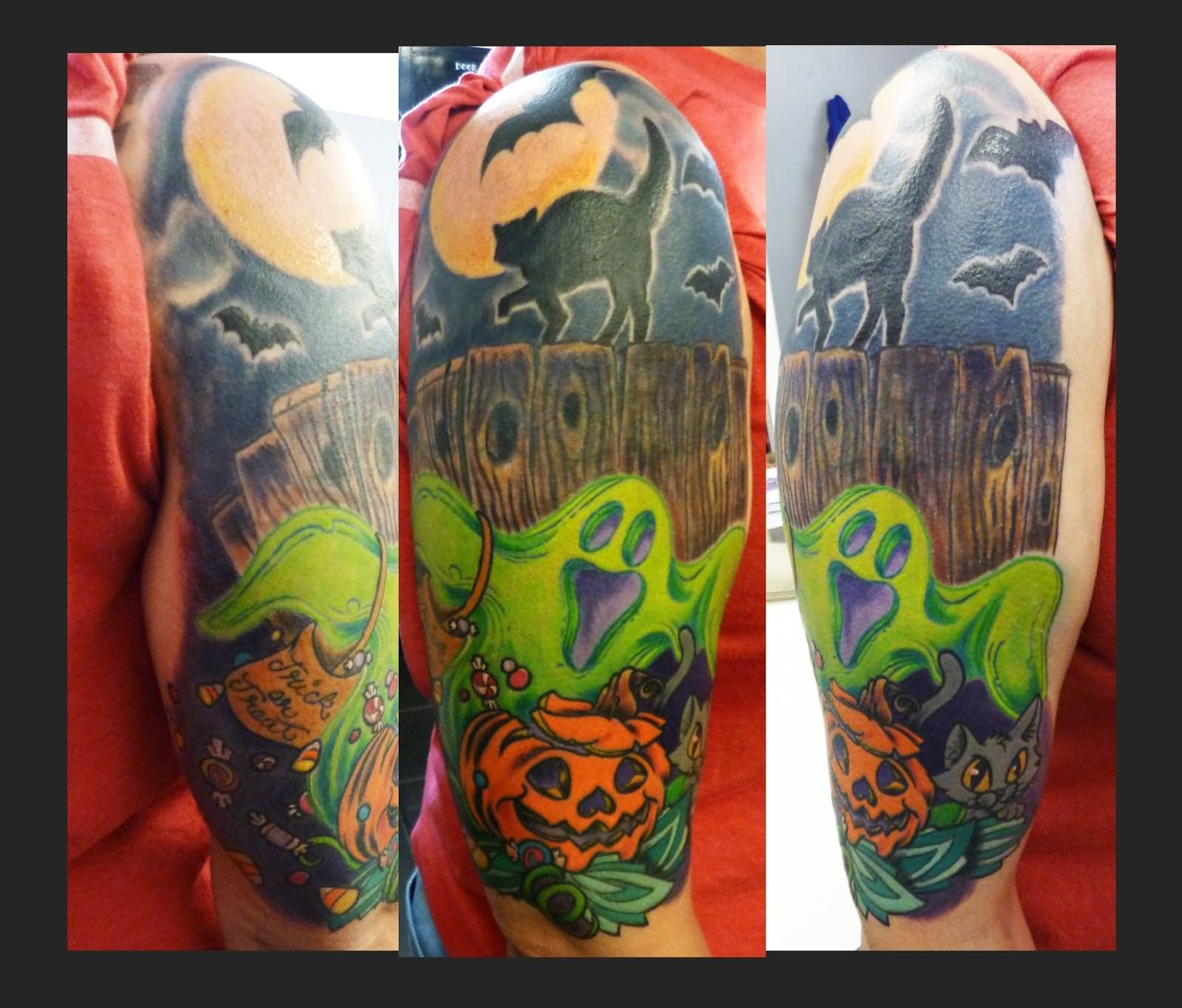 f37b9fc4a250e Halloween Ghost With Pumpkin And Cat Tattoo Design For Half Sleeve