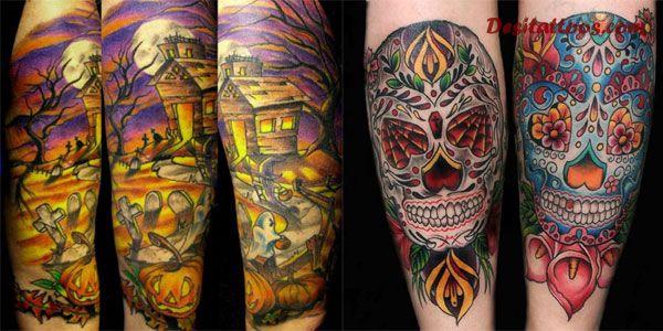 5755aa056b54c Halloween House And Skull Tattoo Design For Sleeve