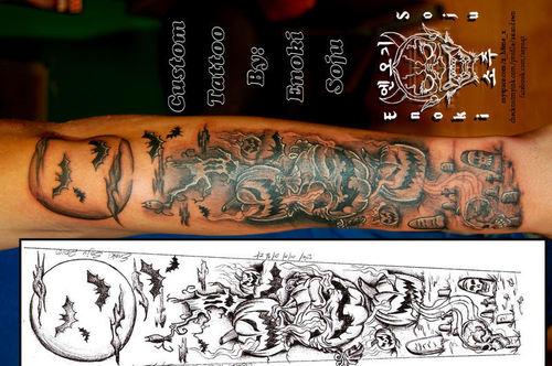 8386eee45292b Halloween Pumpkin With Flying Bats Tattoo On Full Sleeve
