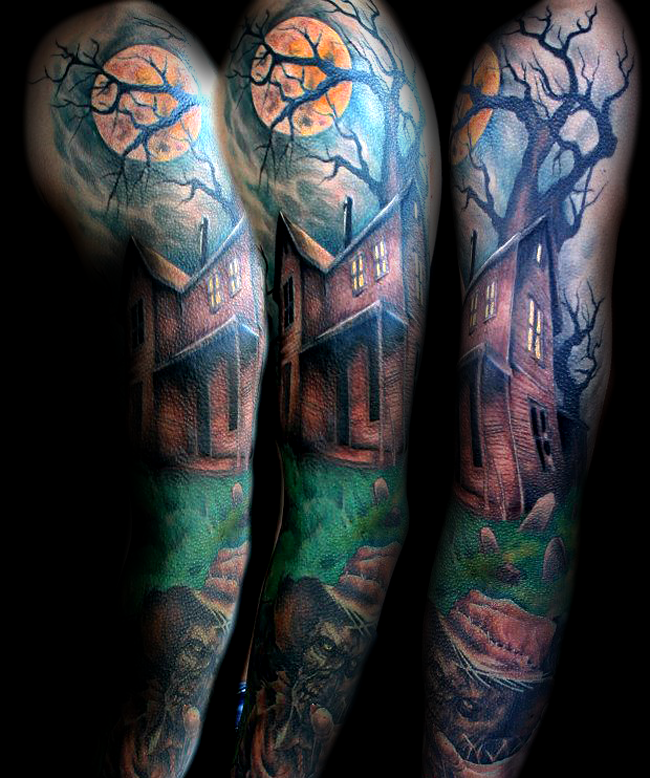 35 awesome halloween tattoos for Bat sleeve tattoo