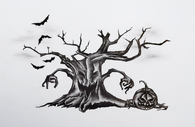 halloween tree with pumpkin and flying bats tattoo design by anita - Black Halloween Tree