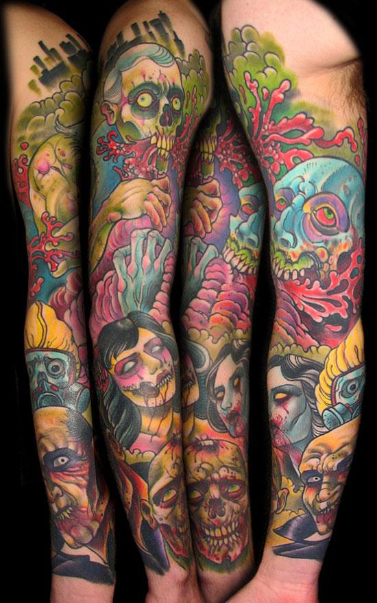halloween zombie tattoo design for full sleeve