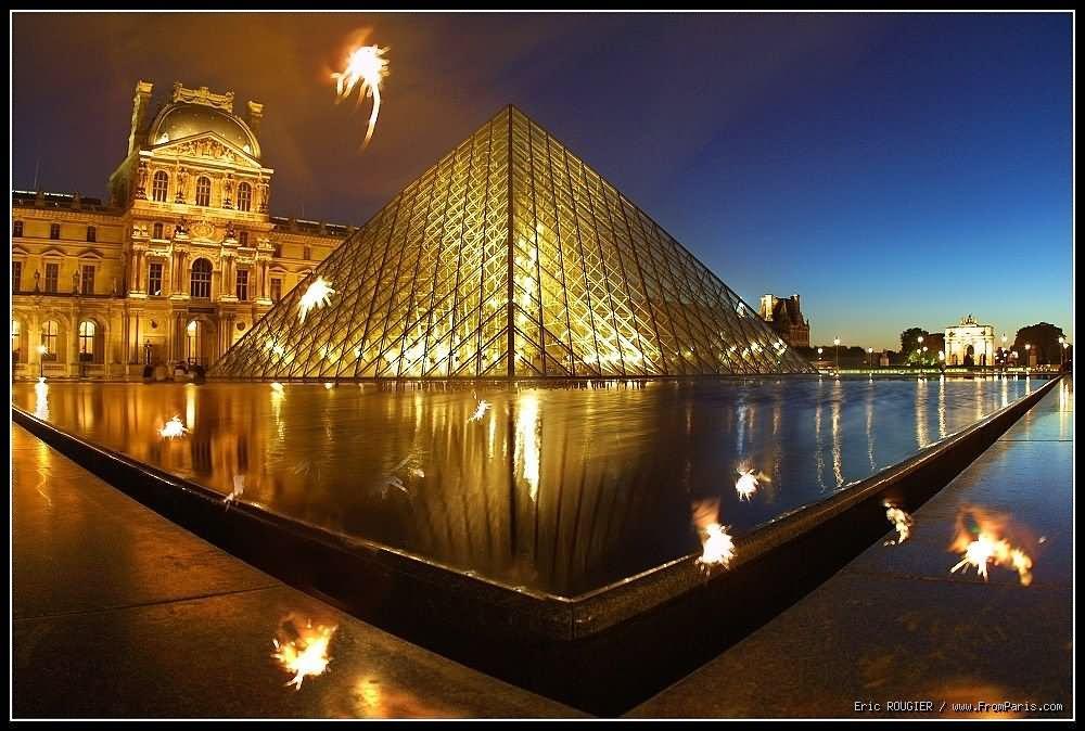 Louvre Museum Paris Night View
