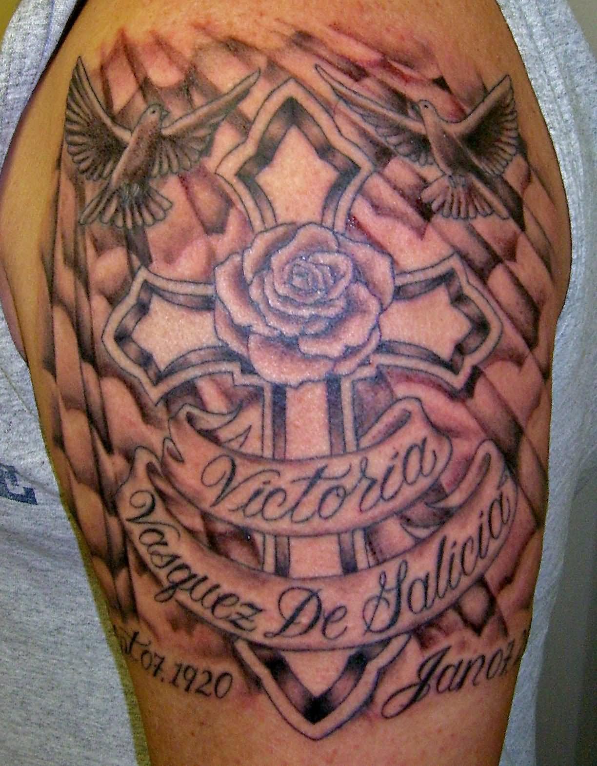 39+ Memorial Cross Tattoos Ideas