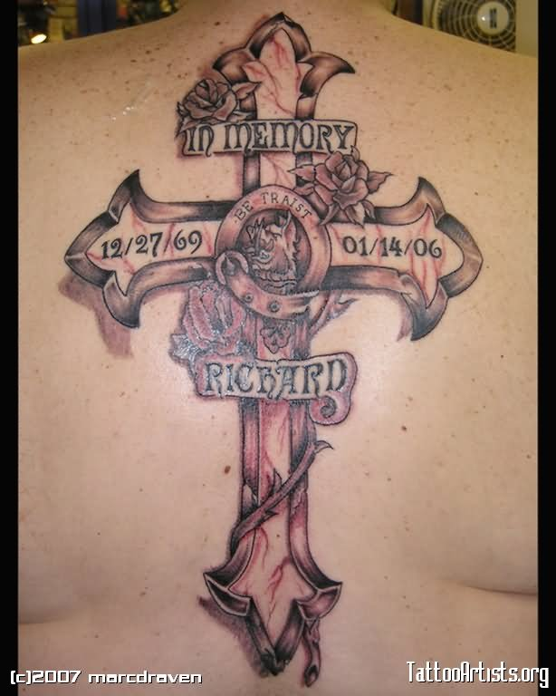 10 latest cross memorial tattoo designs