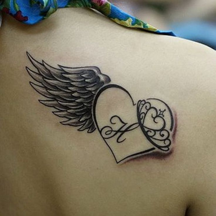 Memorial Tattoo Heart With Wings And Quote: 12+ Memorial Tattoos On Back Shoulders