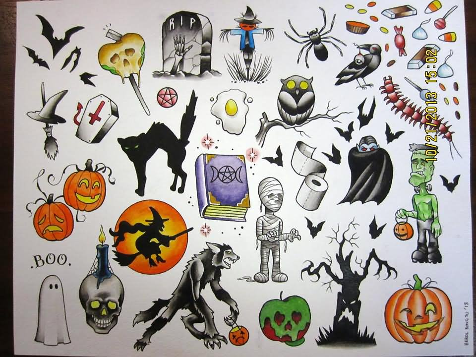 24 traditional halloween tattoo designs and images for Traditional tattoo flash