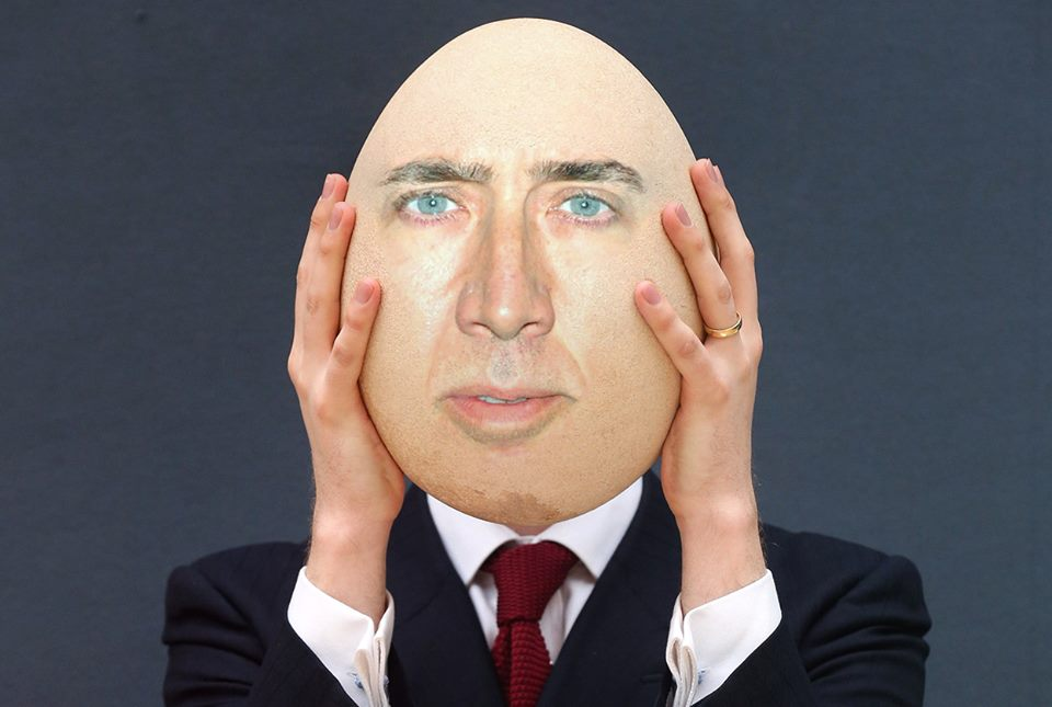 Nicolas Cage With Funny Egg Head Photoshop Picture 20 most funniest egg head pictures that will make you laugh