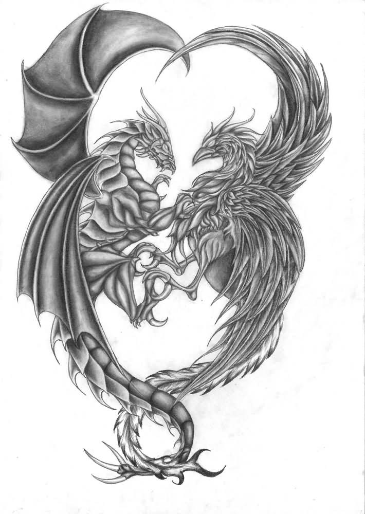 40 fantasy dragon tattoos designs images and ideas. Black Bedroom Furniture Sets. Home Design Ideas