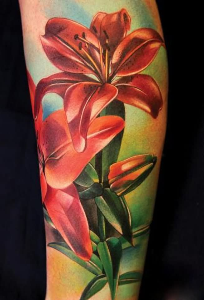 35 realistic floral tattoos for Floral leg tattoo designs