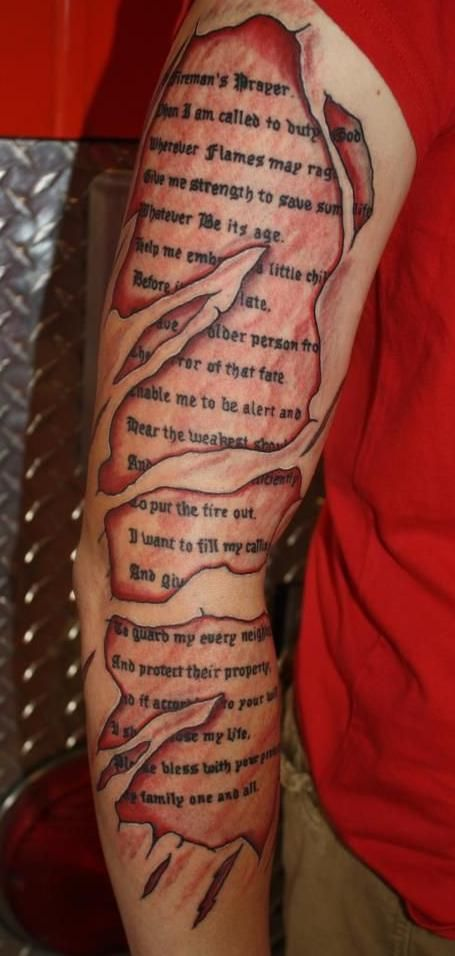 5c9edb19f Ripped Skin Firefighter Prayer Tattoo On Right Full Sleeve