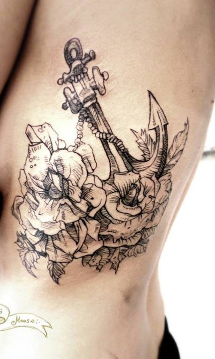 27 best sailor tattoos for Anchor with flowers tattoo