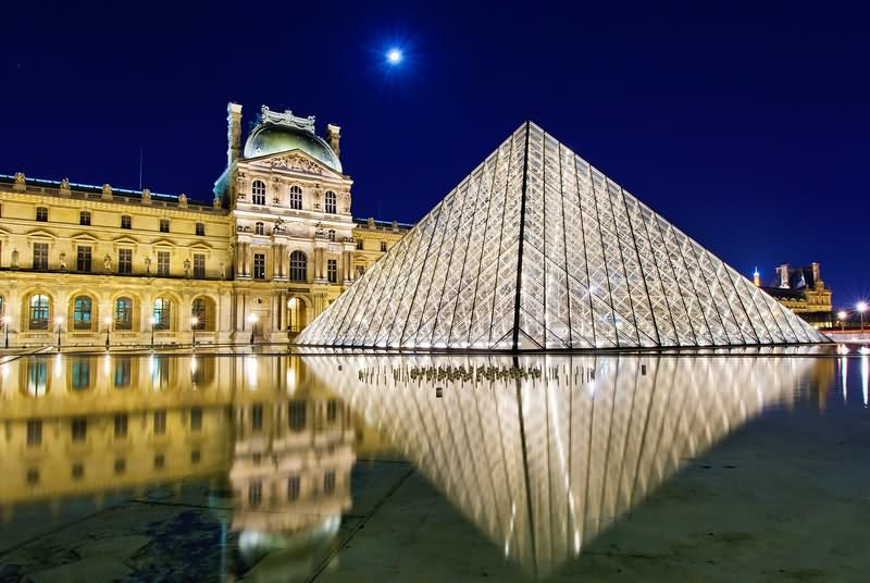 The Louvre Museum And Glass Pyramid With Full Moon Picture