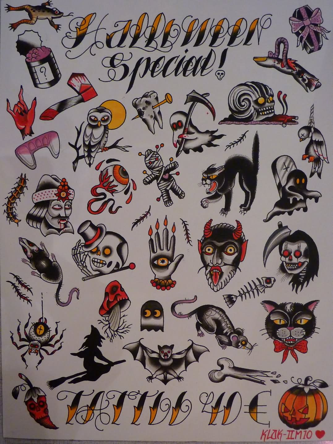 29 best halloween tattoo designs and ideas for Traditional tattoo flash