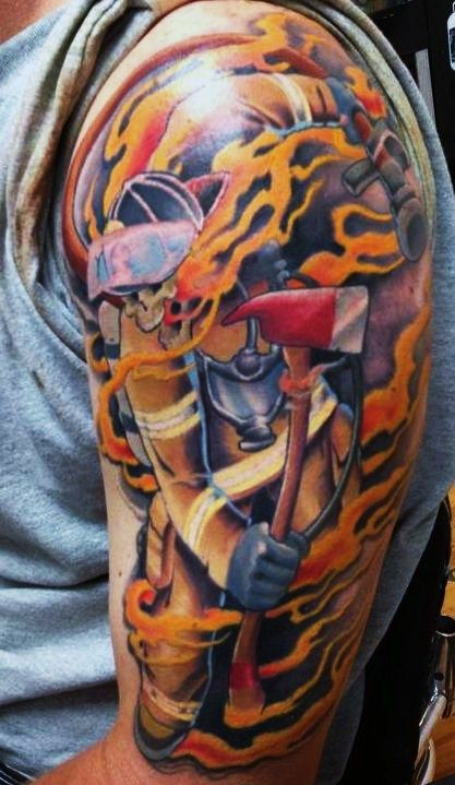 15 tribal firefighter tattoos for Tribal flames tattoo
