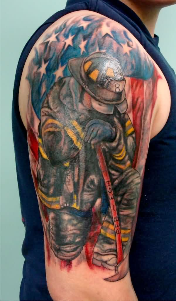 8 firefighter tattoos on half sleeve