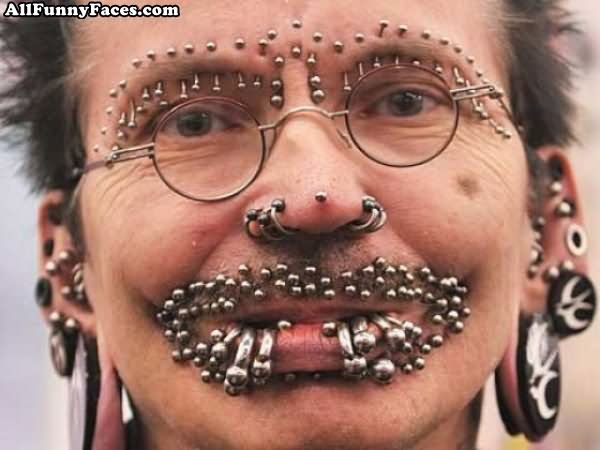Ugly people face piercings