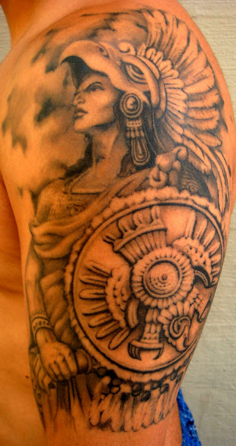 25+ Beautiful Mexican Tattoos On Half Sleeve Aztec Eagle Warrior Drawing