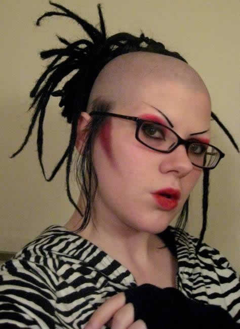Bald Woman With Funny Haircut - Bald hairstyle quotes