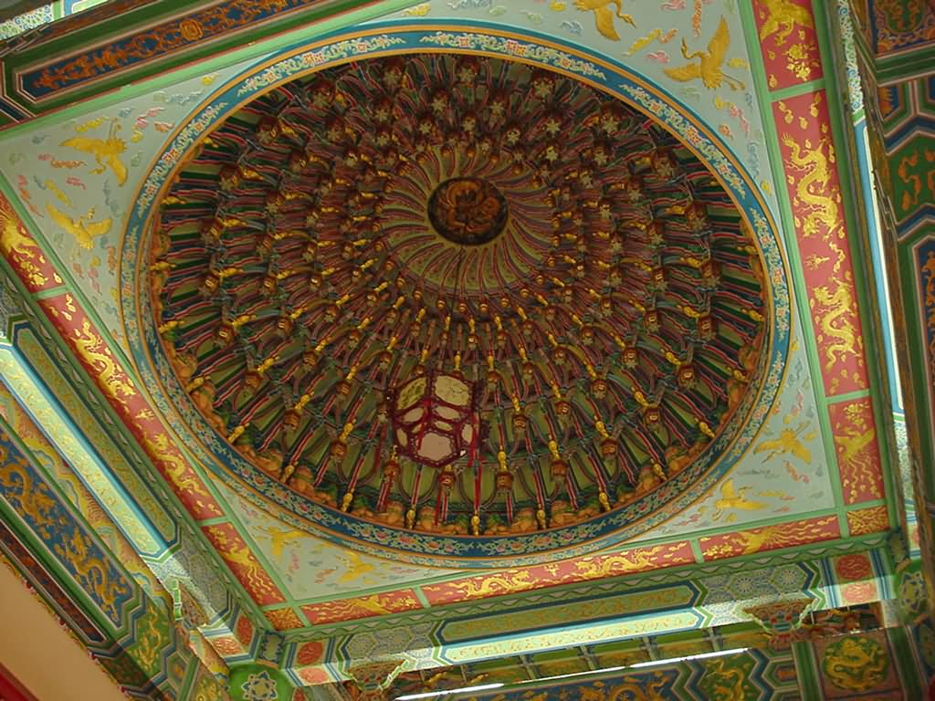 Beautiful Dome Inside Thean Hou Temple, Malaysia