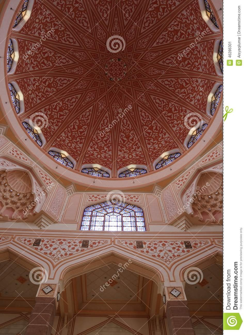 Beautiful Dome Interior Of Putra Mosque