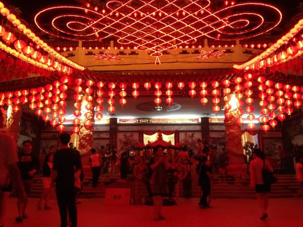 Beautiful Lighting Decoration At Thean Hou Temple