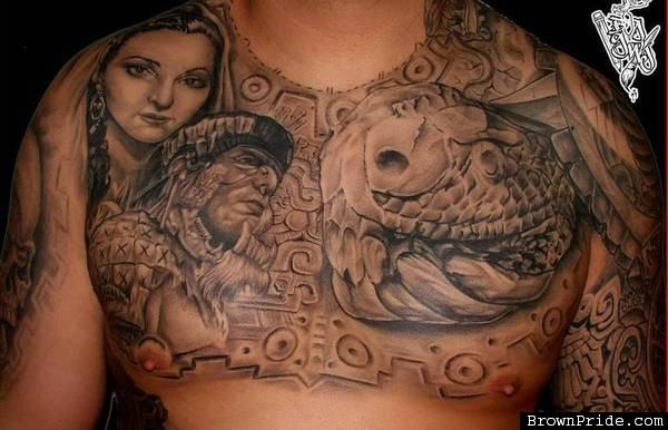 c48baabac Black And Grey Mexican Tattoo On Chest For Men