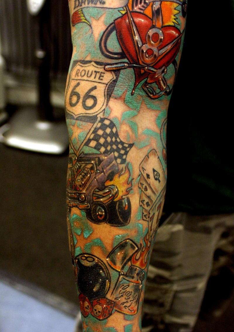 Gambling themed tattoo sleeve online poker player numbers