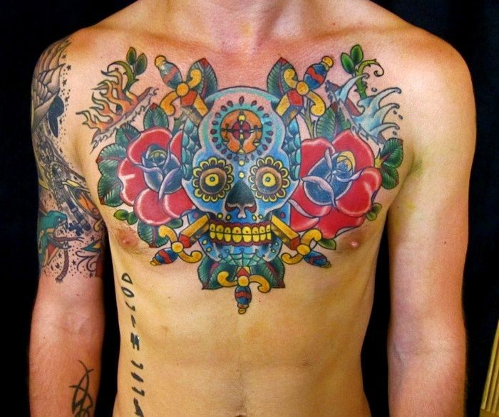 32 mexican tattoos on chest for Color skull tattoos