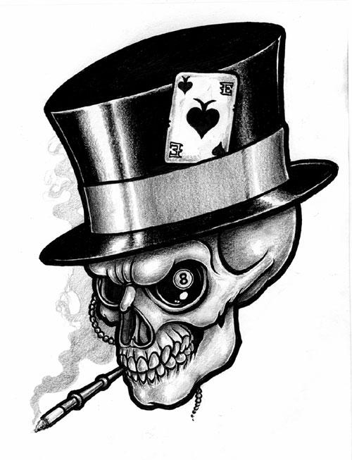 27 gambling skull tattoos. Black Bedroom Furniture Sets. Home Design Ideas