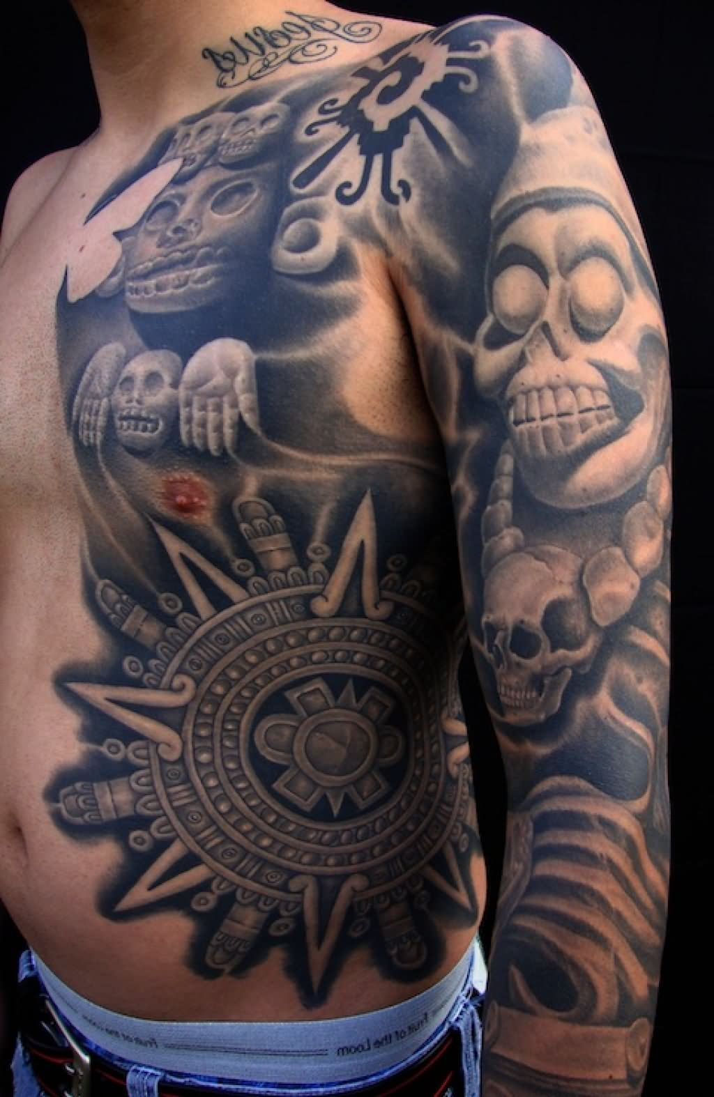 5539caabc Grey Aztec Mexican Tattoo On Left Sleeve And Side Rib