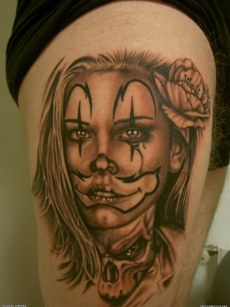 Grey Ink Mexican Clown Girl Tattoo by Eddie