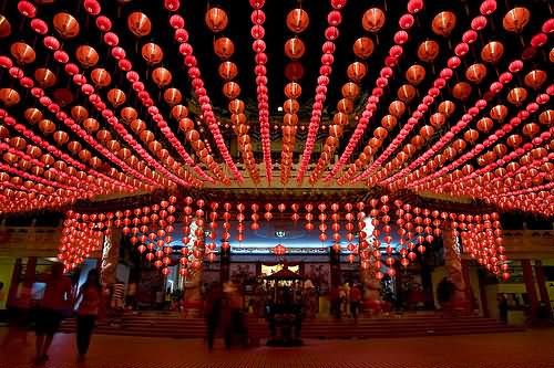 Hanging Lanterns At Thean Hou Temple Night View Image