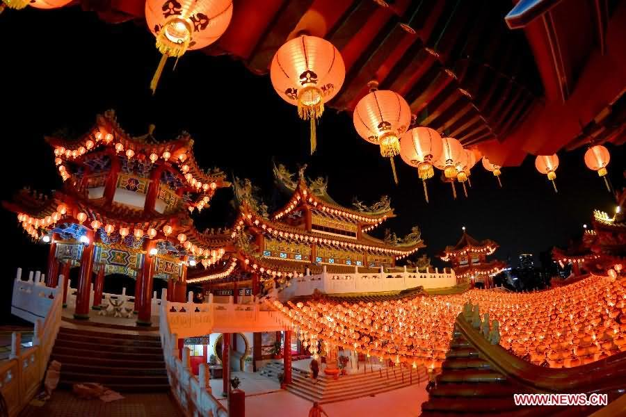 Lanterns Are Lit Up At The Thean Hou Temple In Kuala Lumpur