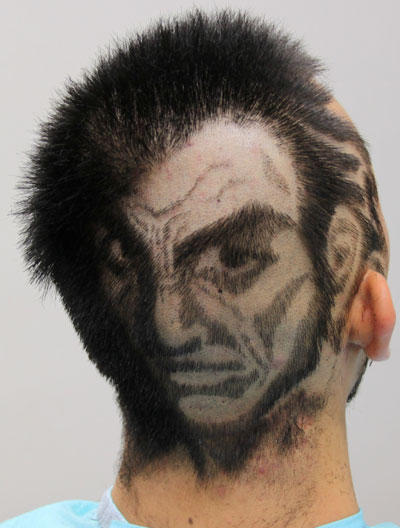 Man With Angry Face Haircut Funny Picture
