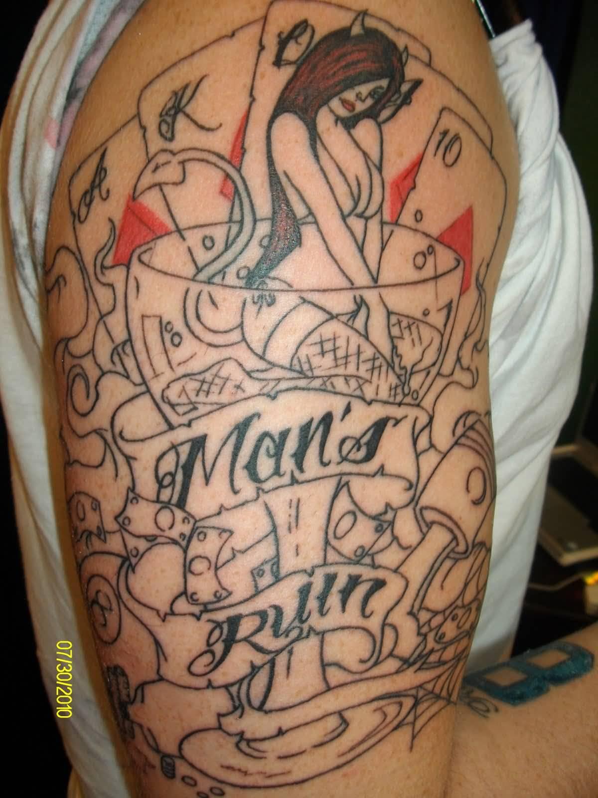 Gambling themed tattoo sleeves