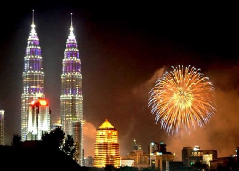 Petronas Towers And Fireworks At Night