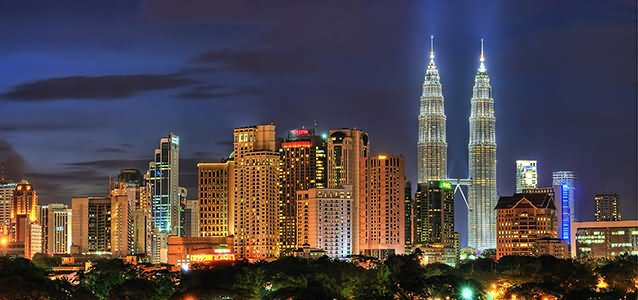 Petronas Towers In The Skyline Night View