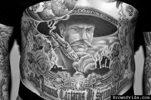 0dac4adfb5ff0 Realistic Grey Ink Mexican Tattoo On Belly