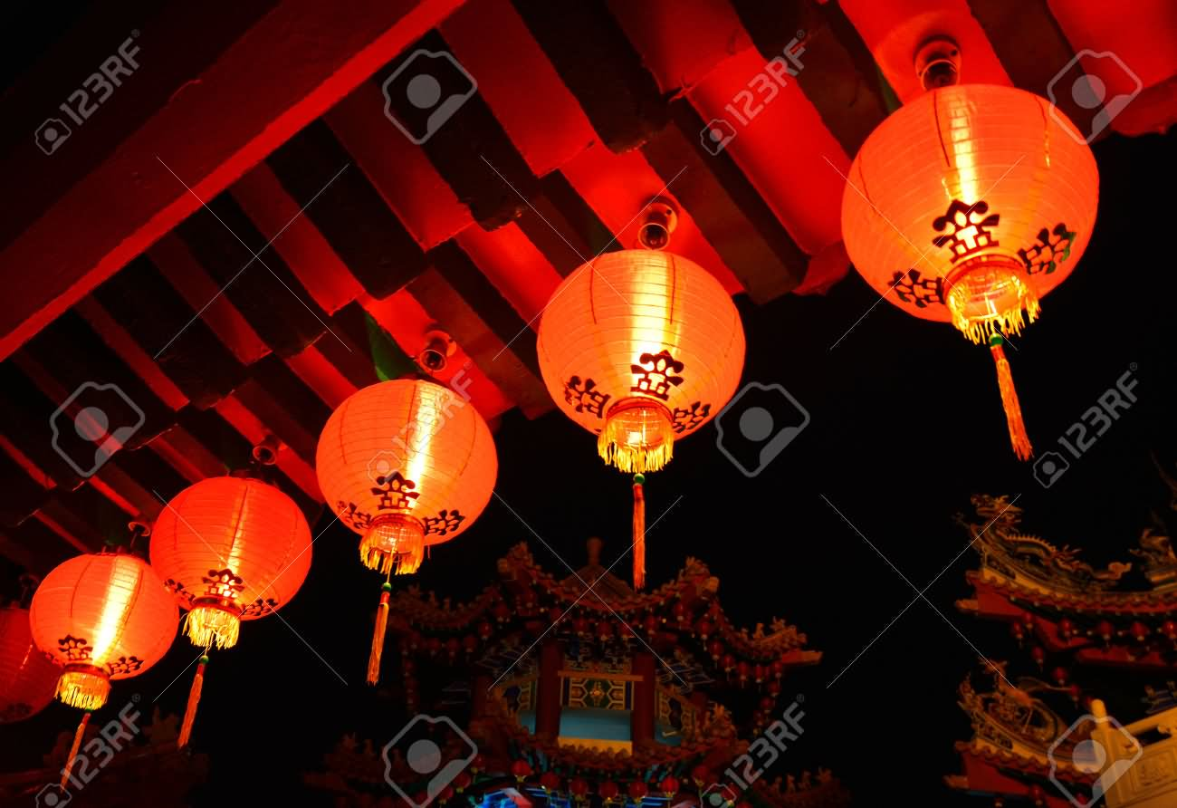 Red Lanterns Glowing In Thean Hou Temple At Night
