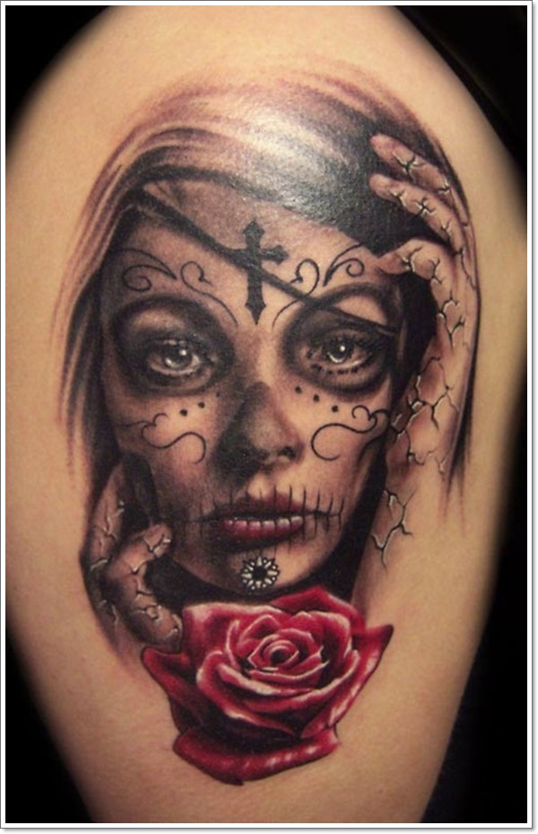 15 mexican tattoos for women for Girl head tattoo
