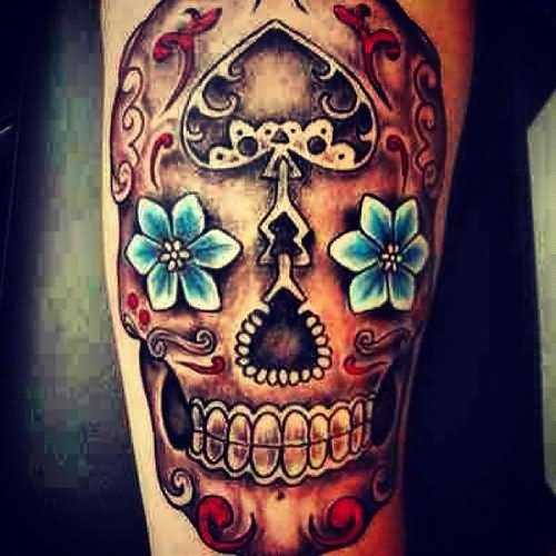 25 beautiful mexican tattoos on half sleeve for Candy skull tattoo