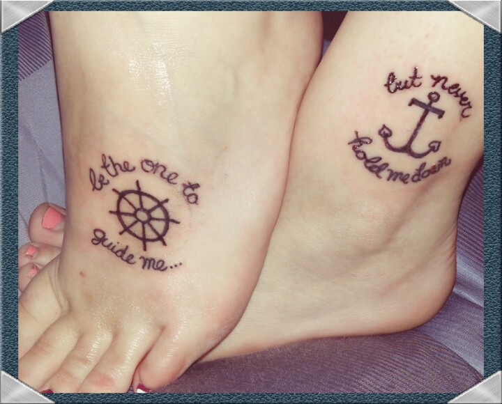 Anchor And Sailor Wheel Friendship Tattoos