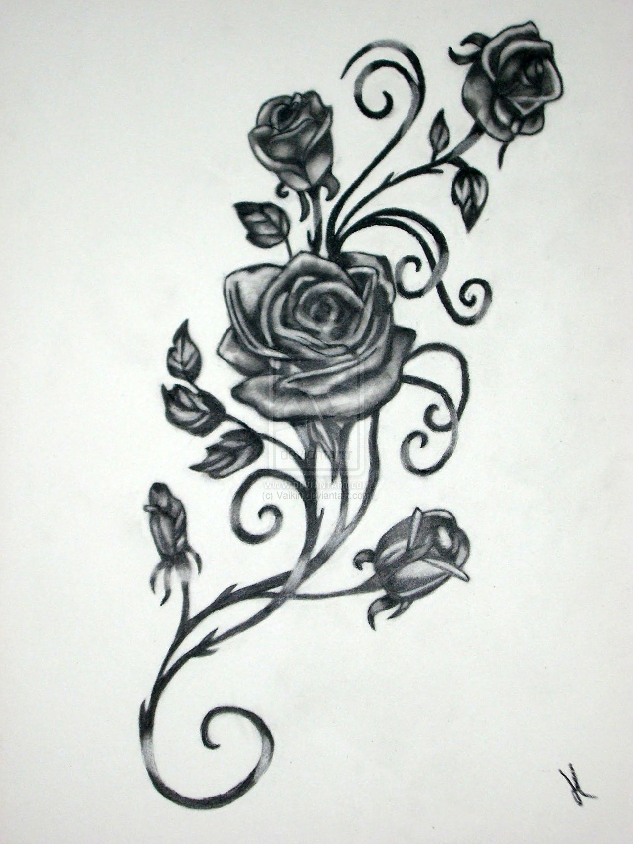 Black And Grey Roses Vine Tattoo Design By Jeremy