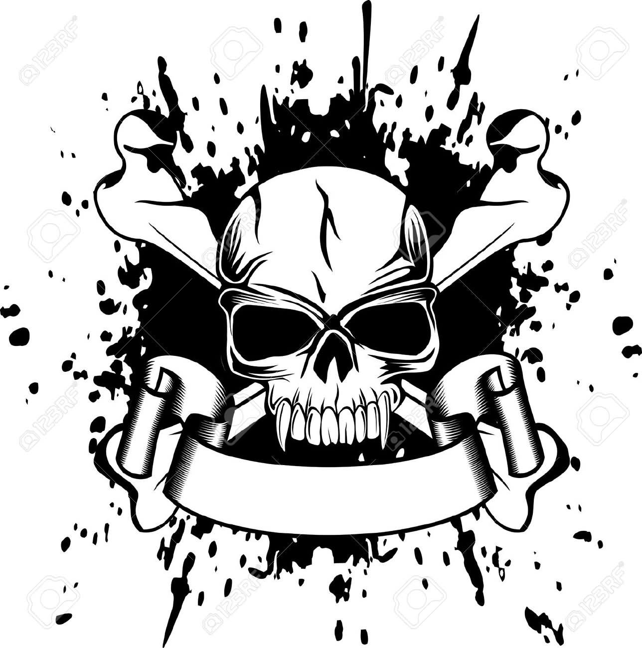 Black Gangster Danger Skull With Ribbon Tattoo Stencil