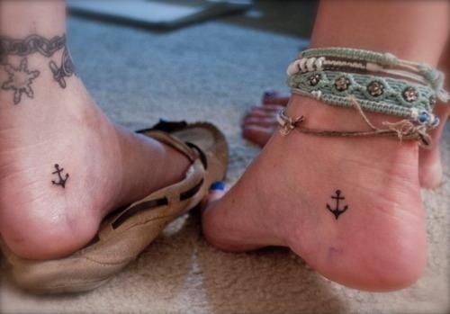 Cute Black Anchors Friendship Tattoos On Heel