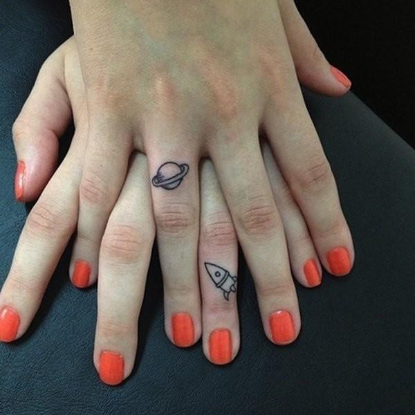 Cute Friendship Tattoos On Fingers